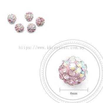 Bling Ball, 6mm, B004 Light Rose + Rainbow White, 5pcs:pack