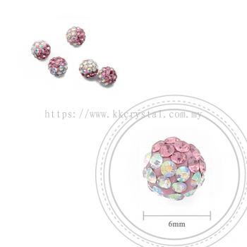 Bling Ball, 6mm, B005 Rose + Rainbow White, 5pcs:pack