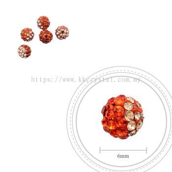 Bling Ball, 6mm, B007 Hyacinth + Light Peach, 5pcs:pack