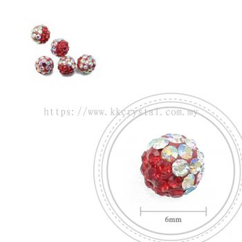 Bling Ball, 6mm, B008 Light Siam + Rainbow White, 5pcs:pack