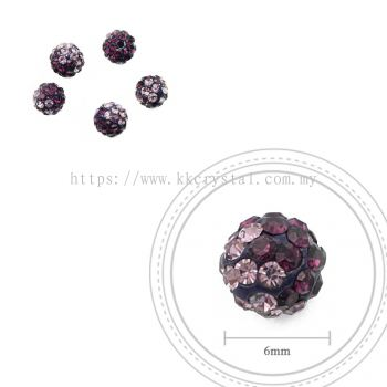 Bling Ball, 6mm, B012 Amethyst + Light Amethyst, 5pcs:pack