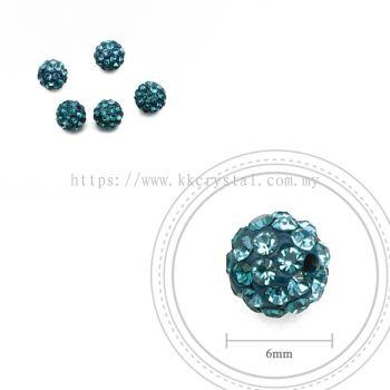 Bling Ball, 6mm, B019 Blue Zircon + Aquamarine, 5pcs:pack