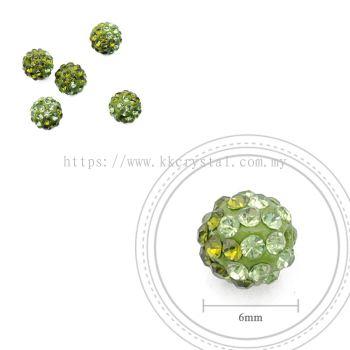 Bling Ball, 6mm, B024 Olivine + Peridot, 5pcs:pack
