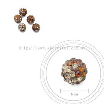 Bling Ball, 6mm, B029 Dark Brown + Light Brown, 5pcs:pack