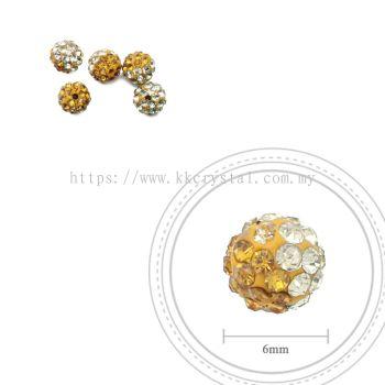 Bling Ball, 6mm, B030 Topaz + Jonquil, 5pcs:pack