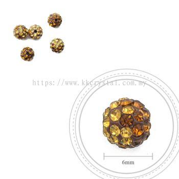 Bling Ball, 6mm, B031 Topaz + Light Brown, 5pcs:pack