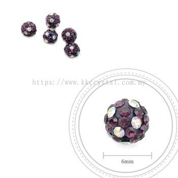 Bling Ball, 6mm, C012 Amethyst + Rainbow DOT, 5pcs:pack