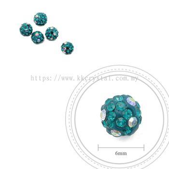 Bling Ball, 6mm, C019 Blue Zircon + Rainbow DOT, 5pcs:pack