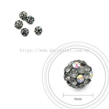 Bling Ball, 6mm, C039 Black + Black Diamond + Rainbow DOT, 5pcs:pack