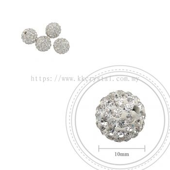 Bling Ball, 10mm, A001, Clear White, 4pcs:pack