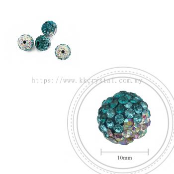Bling Ball, 10mm, B019, Blue Zircon + Aquamarine + Rainbow White, 4pcs:pack