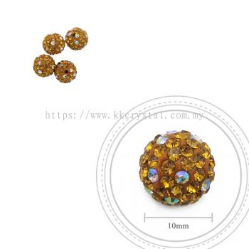 Bling Ball, 10mm, C030, Topaz + Rainbow DOT, 4pcs:pack