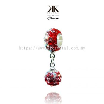 Bling Charm 12mm + 8mm Round Dangle, B008, Light Siam + Light Rose + Rainbow White