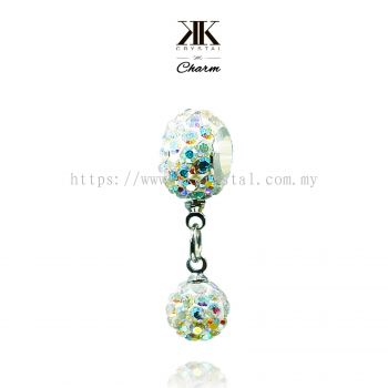 Bling Charm 12mm + 8mm Round Dangle, A101, Rainbow White