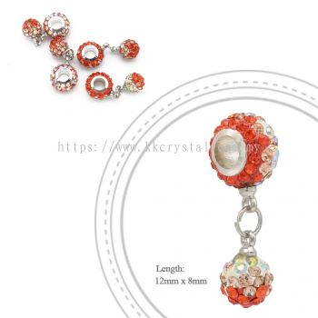 Bling Charm 12mm + 8mm Round Dangle, B007, Hycinth + Light Peach + Rainbow White