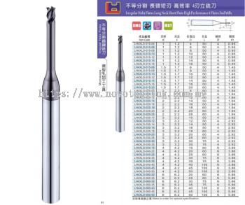 Irregular Helix 4 Flutes Long Neck High Performance 4 Flutes End Mills
