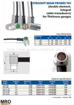Straight Beam Probes TGI (Double Element, Integral Cable Transducers) for Thickness Gauges