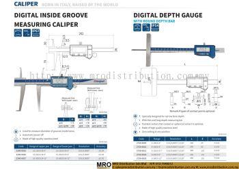 Digital Inside Groove Measuring Caliper & Digital Depth Gauge with Round Depth Bar
