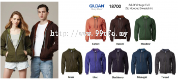 Gildan Adult Vintage Full Zip Hooded (18700)