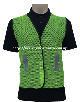Safety Vest Netting Lime Green with Black Piping