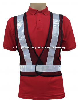 Safety Vest V Neck (Netting) with Black + White