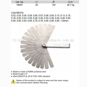 09407 | Pc Feeler Gauge Set 0.02-1.00mm