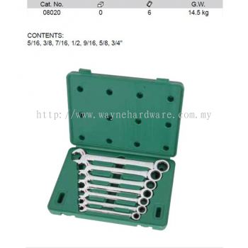 08020 - Pc SAE Double Ratcheting Wrench Set