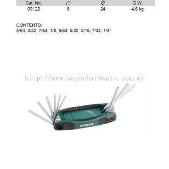 09122 - Pc SAE Hex Key Fold up Set