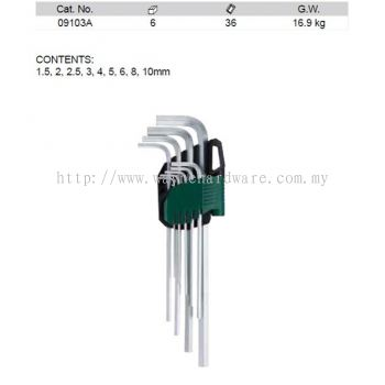 09103A - Pc Metric Extra Long Hex Key Set
