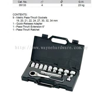 09133 - Pc 1/2 Drive 6 Point Metric Pass Thru Socket Set