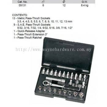 09131 - Pc 1/4 Drive 6 Point Metric SAE Pass Thru Socket Set