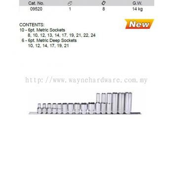 09520 - Pc 1/2 Drive 6 Point Metric Socket Set