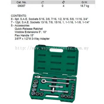 09087 - Pc 1/2 Drive 6 and 12 Point SAE Socket Set