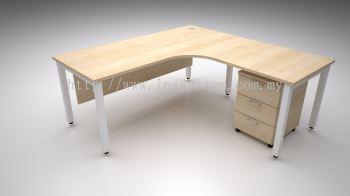 L SHAPE TABLE WITH U METAL LEG