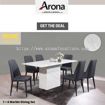 (ARONA)1+6 1.4M RECTANGLE MARBLE DINING SET