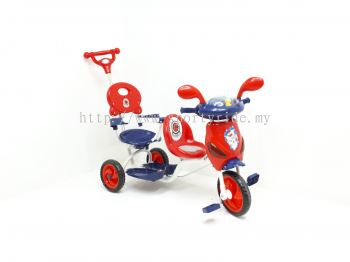Tricycle with handle Twinseat 856