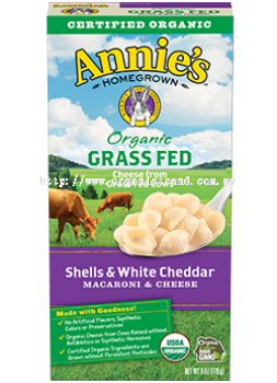 ANNIE'S*MACARONI & CHEESE-GRASS FED SHELLS & WHITE CHEDDAR ORGANIC-170G