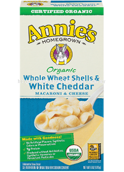 ANNIE'S*MACARONI & CHEESE-WHOLE WHEAT SHELLS & WHITE CHEDDAR-ORGANIC-170G