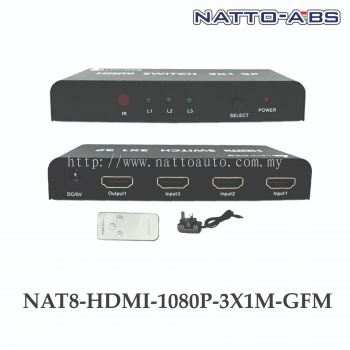 HDMI Switch Intelligent 3-Port in 1 Out HDMI Switcher Splitter Supports Full HD1080p IR Remote