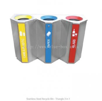Stainless Steel Recycle Bin - Triangle 3 in 1