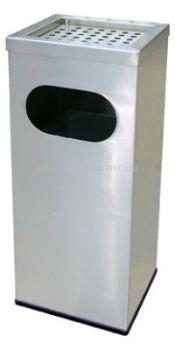 STAINLESS STEEL RECTANGULAR WASTE BIN c/w ashtray top