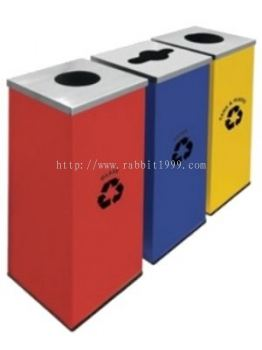 POWDER COATING & STAINLESS STEEL SQUARE RECYCLE BIN - RECYCLE-129/SS
