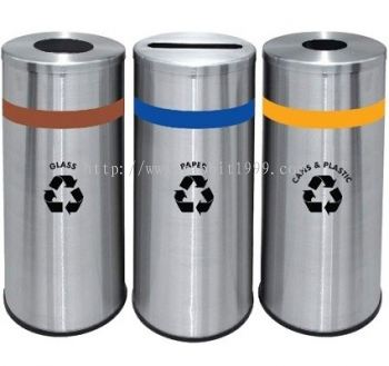 STAINLESS STEEL ROUND RECYCLE BINS