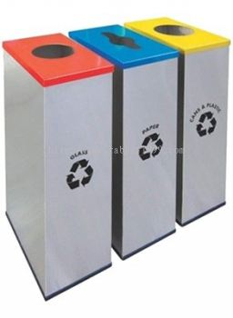 STAINLESS STEEL & POWDER COATING RECTANGULAR RECYCLE BIN - RECYCLE-134/SS