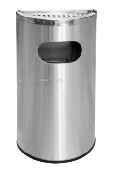 STAINLESS STEEL SEMI ROUND ASHTRAY TOP BIN - SRB-058/A