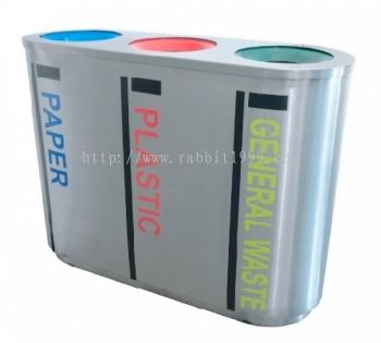 STAINLESS STEEL 3 COMPARTMENT OPEN TOP RECYCLE BIN - RECYCLE-187/3