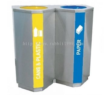 STAINLESS STEEL 2 COMPARTMENT RECYCLE BIN C/W INNER LINER - RECYCLE-181/2