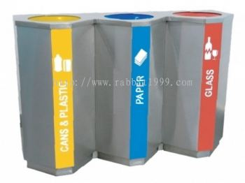 STAINLESS STEEL 3 COMPARTMENT RECYCLE BIN C/W INNER LINER - RECYCLE-181/3