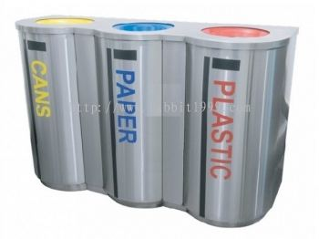 STAINLESS STEEL 3 COMPARTMENT RECYCLE BIN C/W INNER LINER - RECYCLE-180/3