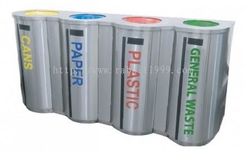 STAINLESS STEEL 4 COMPARTMENT RECYCLE BIN C/W INNER LINER - RECYCLE-180/4